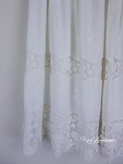 アンティーク風コットンケミカルレースギャザースカート