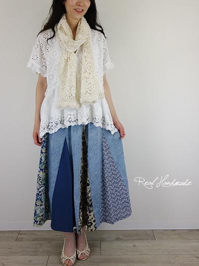 シャンブレーブルートライアングルパッチスカート
