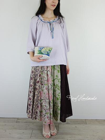 リネン紫陽花ポーチ