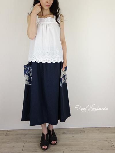 ヨーロッパグレイッシュネイビーリネンサイドポケットスカート