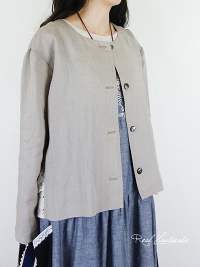 リネンドロップバックレース羽織りブラウス