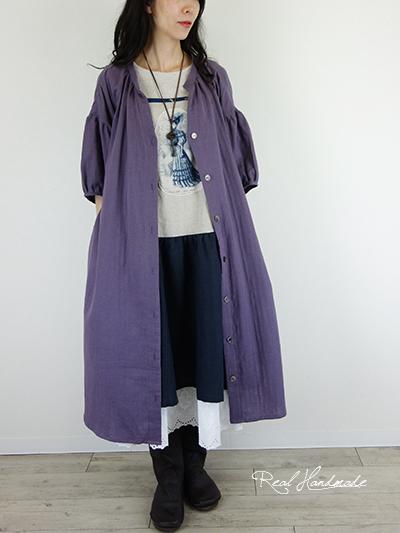 モーブWガーゼドロップ羽織りワンピース