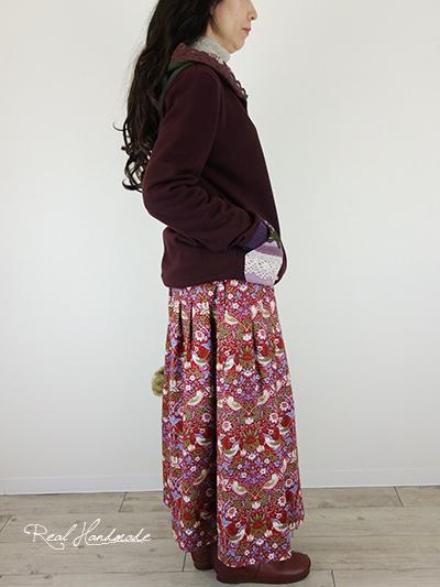 ボルドーフラワーレースコラージュ羽織りパーカー