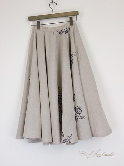しっとり柔らかリネンとアンティークフラワーサーキュラースカート