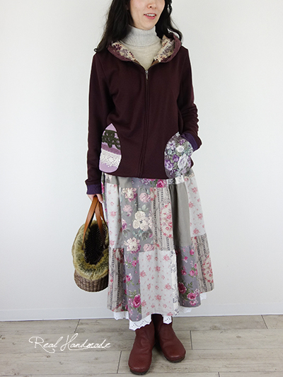 リネンパッチティアードスカート☆グレージュ