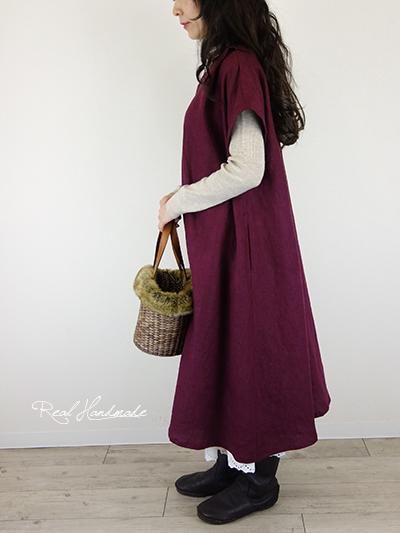 ヨーロッパバーガンディリネン襟Vタックワンピース